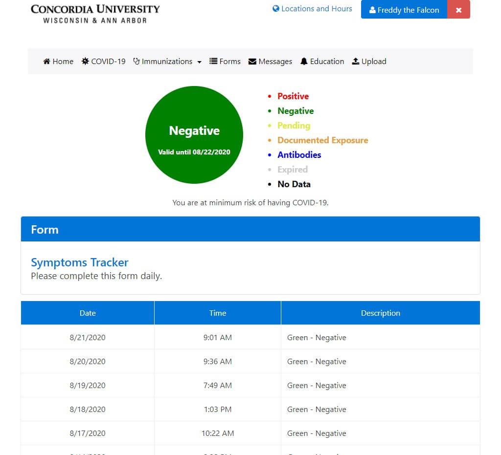 Screenshot of a negative Medicat assesment